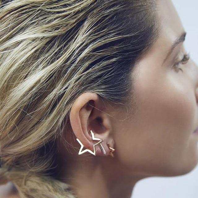34da645f8eb5 Pendiente de estrella hueca clip en pendientes para mujeres joyería de moda  brinco pendientes de clip
