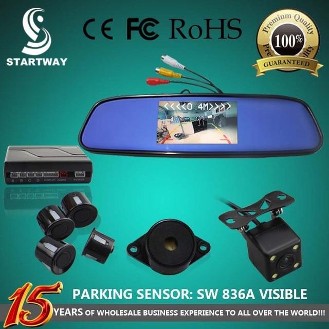 "Car Parking Sensor  with 4.3"" LCD Back View Mirror Visible Monitor + Rear View Camera + BiBi Sound Alert SW836APV"