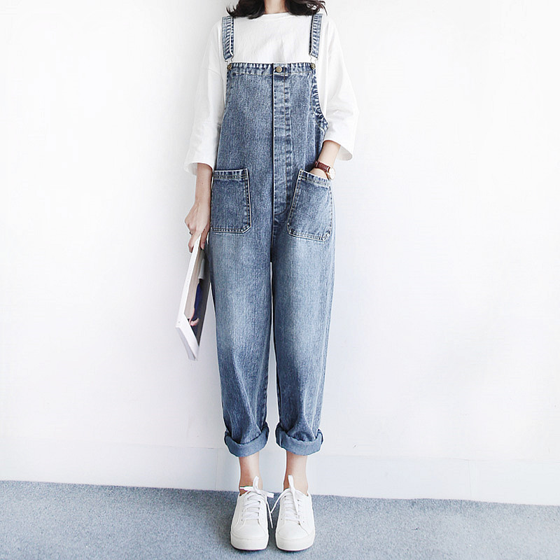 Vintage retro loose denim bib pants trousers all-match tooling straight casual jumpsuit  strap jeans