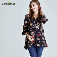 Green Home Summer Floral Breastfeeding Nursing Long Dress Elegant Breastfeeding Dress