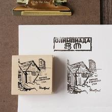Vintage travel memory book wood stamp DIY wooden rubber stamps for scrapbooking stationery standard