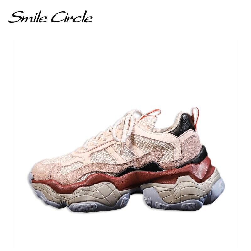 Sourire Cercle sneakers Femmes 2019 Printemps Mode Respirant décontracté Confortable chaussures plates chaussures à semelles compensées Dames En Plein Air Papa Sneakers