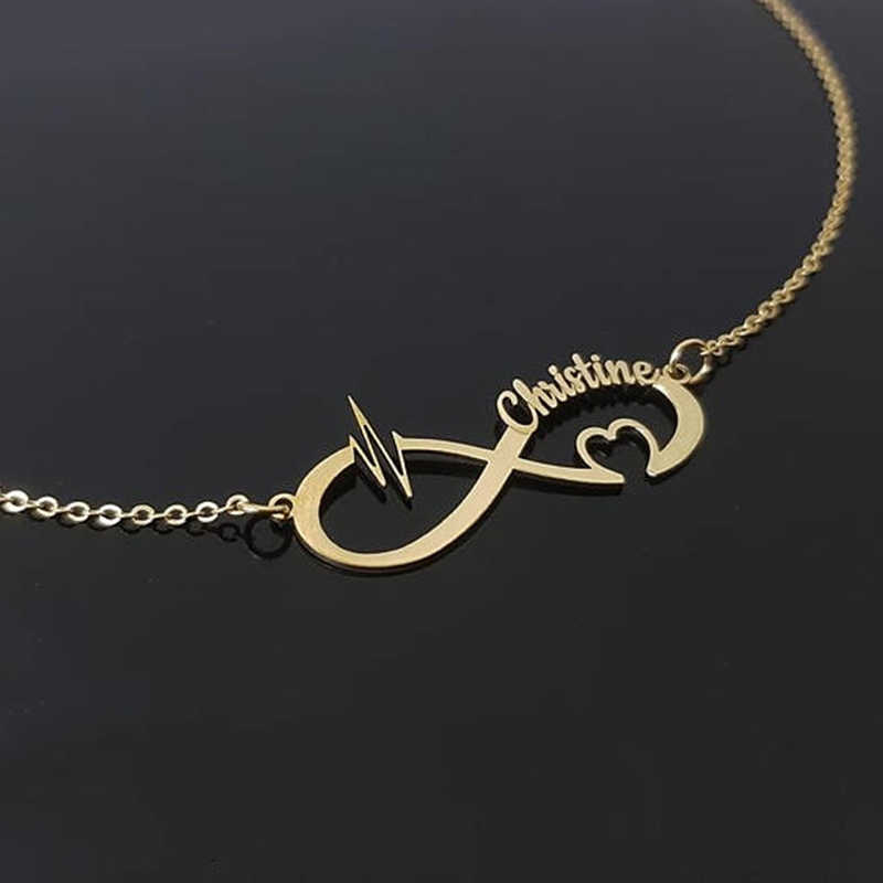 Nextvance aço inoxidável nome personalizado colar de casal personalizado infinito pingente colar de jóias melhor amigo presente