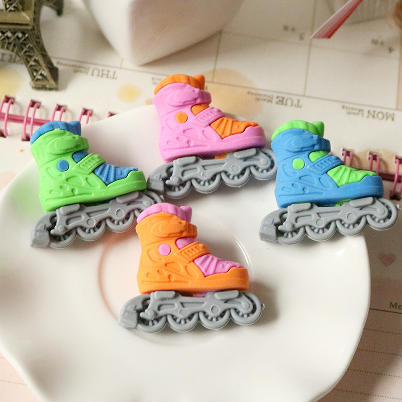 1Pcs New Cartoon Roller Skates Novelty Eraser Rubber Primary School Student Prizes Gift Stationery E0546