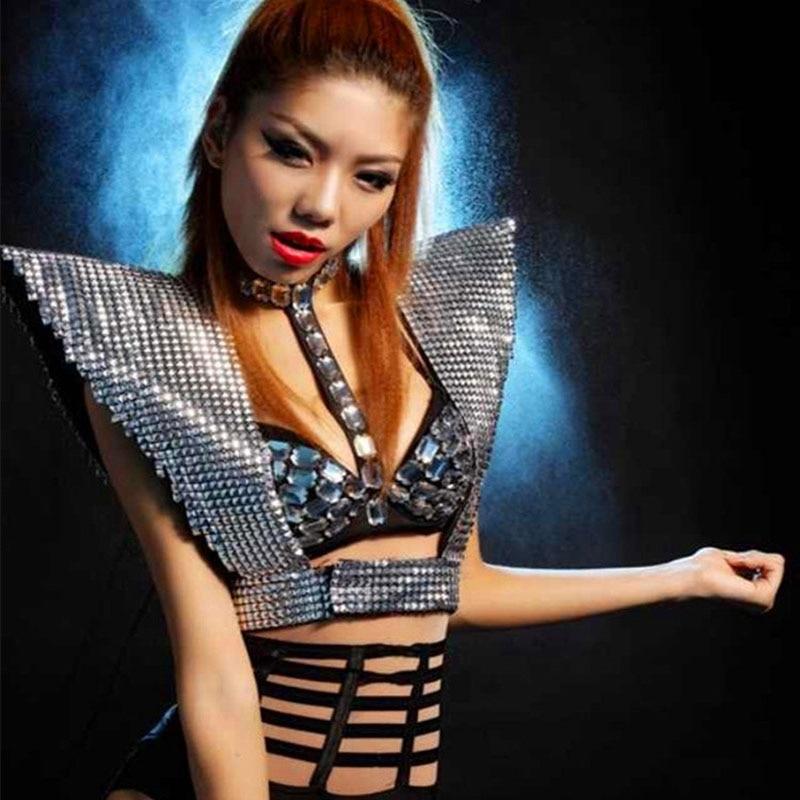 Women Jazz Dance Costume DS Performance Wear Hip Hop Dance Costumes Modern Dance Fashion Nightclub Sexy Sequins Armor Clothes