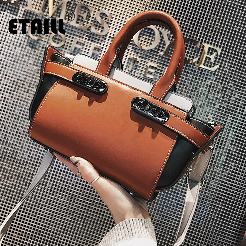ETAILL Fashion High Quality Panelled Bags Women Shoulder Bags Casual Messenger Bag Hit Color PU Leather Vintage Ladies Tote Bags