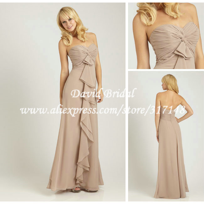 Sheath Sweetheart Neckline Empire Long Champagne Bridesmaid Dress Simple Chiffon With Criss Cross Pleat Nf670 In Dresses From Weddings Events