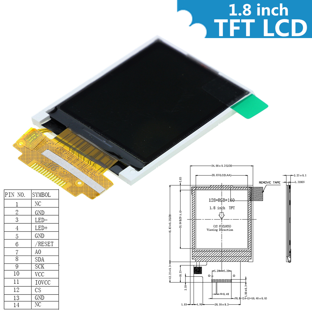 1.8 inch Color TFT LCD Display Module 128x160 Display ST7735 SPI Serial interface IO Ports for arduino Diy Kit STM32