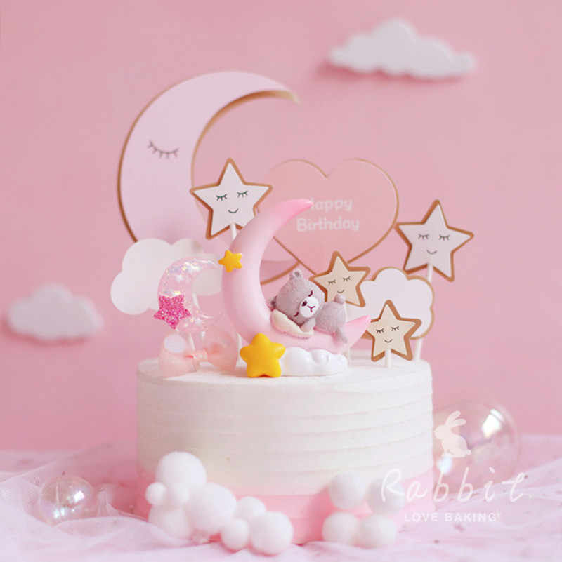 Excellent Ins Pink Moon Bear Star Rabbit Decoration Happy Birthday Cake Personalised Birthday Cards Cominlily Jamesorg