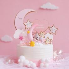 INS ดวงจันทร์สีชมพูหมีกระต่ายตกแต่งเค้กวันเกิด Happy Birthday สำหรับเด็กปาร์ตี้เบเกอรี่อุปกรณ์จัดงานแต่งงานของขวัญน่ารัก