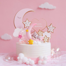Ins Pink Moon Bear Star Rabbit Decoration Happy Birthday Cake Toppers for Children Baby Party Baking Wedding Supplies Cute Gifts