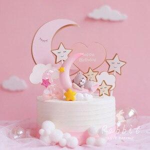 Image 1 - Ins 핑크 문 베어 스타 토끼 장식 생일 축하 케이크 토퍼 어린이 베이비 파티 베이킹 웨딩 용품 귀여운 선물
