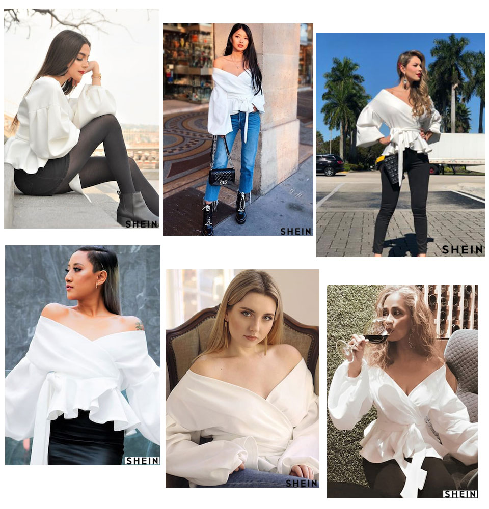 SHEIN White Office Lady Elegant Lantern Sleeve Surplice Peplum Off the Shoulder Solid Blouse Autumn Sexy Women Tops And Blouses 8