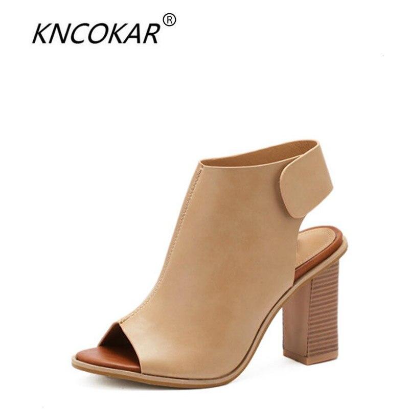 KNCOKAR 2018 été nouveau style femmes décontracté confort épais talon haut poisson bouche magique pâte après sandales vides