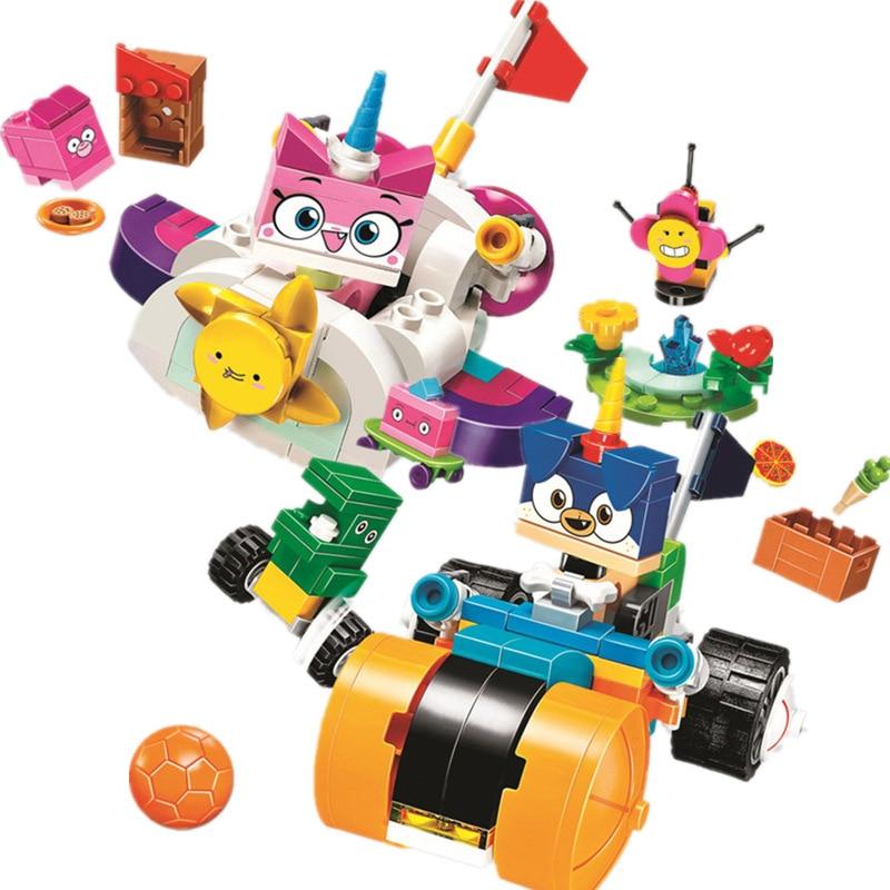BELA Cartoon Unikitty Cat Cloud Car Prince Puppycorn Trike Building Block Bricks Toys Compatible Legoings Friends