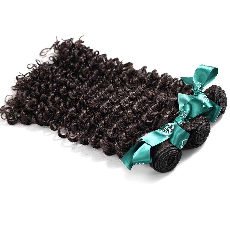ILARIA HAIR Malaysian Curly Human Hair Bundles With Closure Deep Wave 100% Natural Remy Hair Weave 3 Bundles With Lace Closure