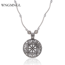 WNGMNGL New 2018 Vintage Ethnic Antique Sliver Color Hollow Round Flower Butterfly Pendant Necklace For Women Fashion Jewelry