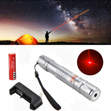 Best price Waterproof 650nm 1mW Red Laser Pointer Pen Light High Power for Hunting +18650 Battery+ Holster+Charger