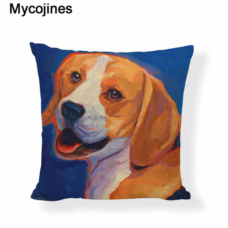 c547639cdead Popular Beagles Cushion Cover Dogs Ngel Wings Home Sofa Car Decor Linen  Cotton Waist Support Childlike Throw Pillow Case 45X45cm