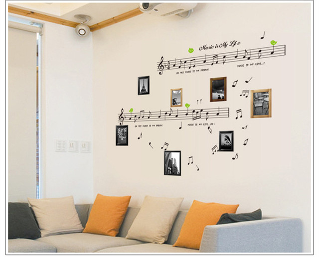 cute music home decoration wall sticker family bathroom vinyl wall ...