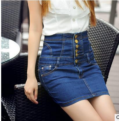 Jinsen Aite плюс размер S-4XL Высокая талия новые летние женские джинсовые юбки-карандаш обтягивающее по бедрам сексуальное узкие джинсы юбка винтажная юбка JS381 - Цвет: Синий