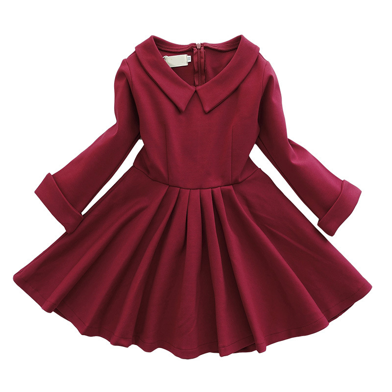 Brand Autumn Girls Dress Baby Party Vestido Winter Kids Classic Peter Pan Collar Slim Princess Clothing long sleeve for 4y-10y brand kids girls dress autumn winter