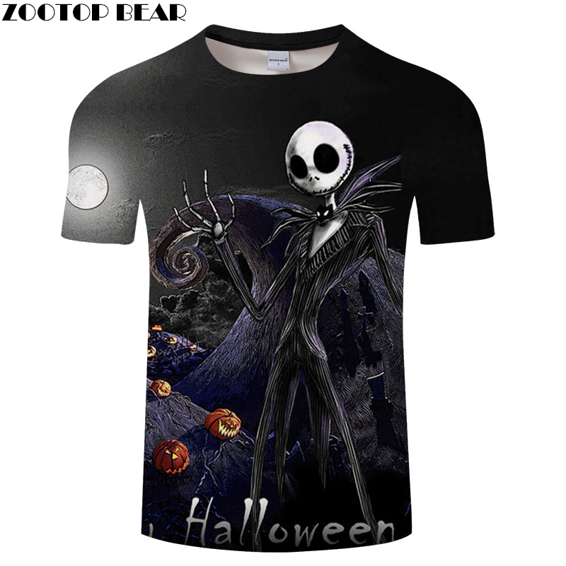 Jack skellington tshirt Men t shirt 3d Top Tee Halloween t-shirt Short Sleeve Camiseta Streetwear Clothes Drop Ship ZOOTOP BEAR