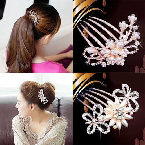 Panas Kristal Berlian Imitasi Pengantin Pernikahan Mutiara Jepit Rambut Bunga Diamante Rambut Klip Sisir 5W92 7EFB