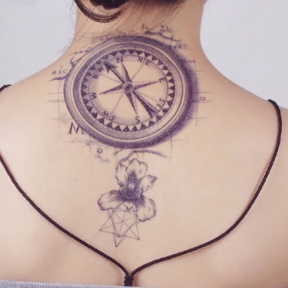 57c532c95d079 Yeeech Temporary Tattoos Sticker for Men Women Arm Leg Back Body Art Fake  Compass Map Lilies Flower Designs Black White Makeup-in Temporary Tattoos  from ...