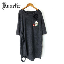 Rosetic Gothic T-shirt Black Loose Worn Women Summer Punk Skull Rose Print Goth Fashion Style Casual Tees Tops Gothic T-shirts