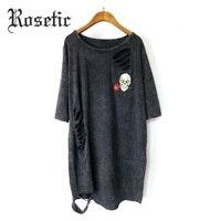 Rosetic Gothique T-shirt Noir Lâche Porté Femmes D'été Punk Crâne Rose Imprimer Goth Mode Style Casual T-shirts Tops Gothique T-shirts