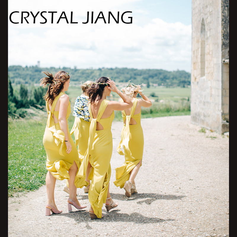 Long Mustard Yellow   Bridesmaids     Dresses   Side Split For Garden Fall Wedding
