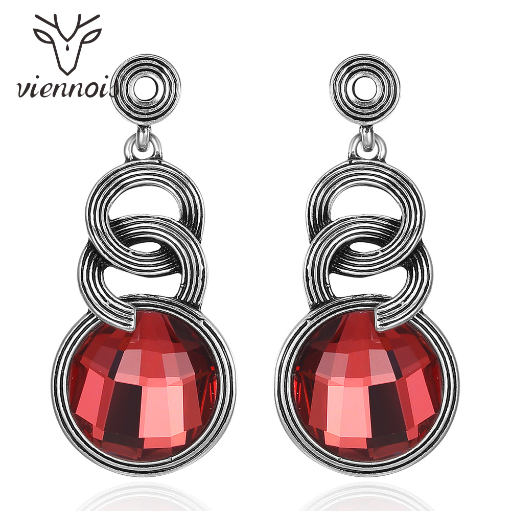 Viennois Antique Dangle Earrings for Women Vintage Silver Color Red Crystal Drop Earrings Female Retro Gothic Jewelry pair of retro style tai ji color block drop earrings for women