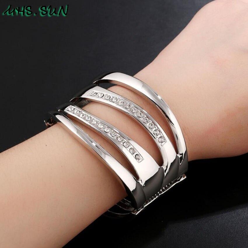8-1Punk Hollow Ladies Women Bangle Bracelets Fashion Exaggerated Girls Bangles Bracelets European Female Jewelry For Gift