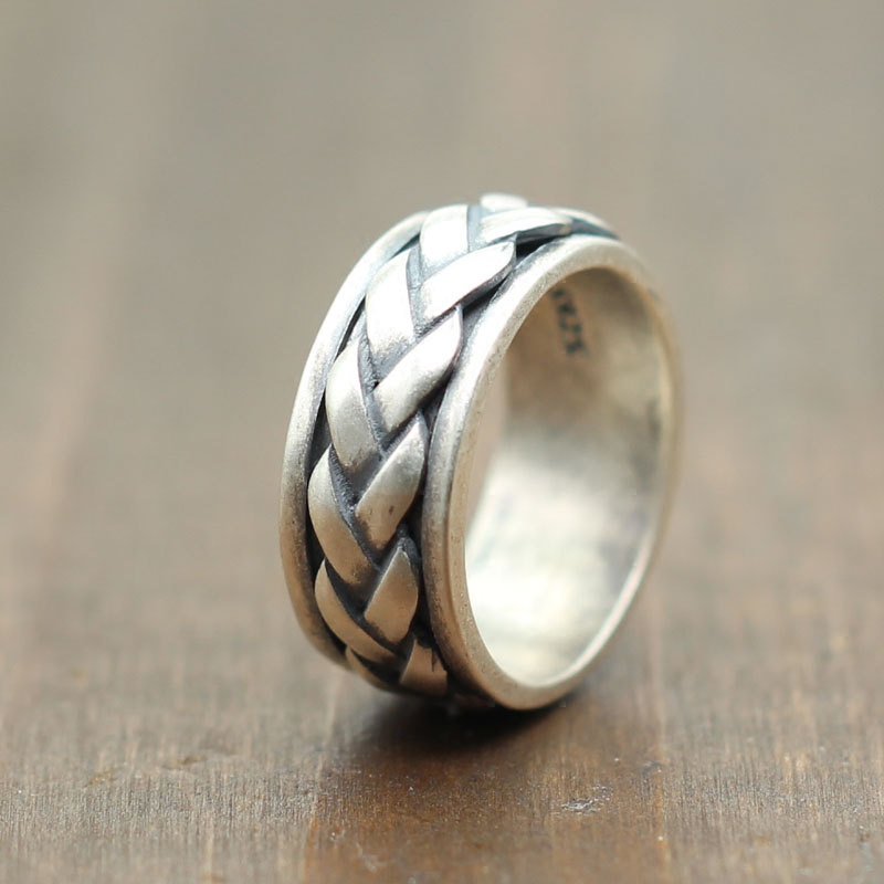 Woven Band Design Silver 925 Rotating Spinner Ring Men Cool Real 925 Sterling Silver Jewelry Vintage Rings Men Free Gift Box цена