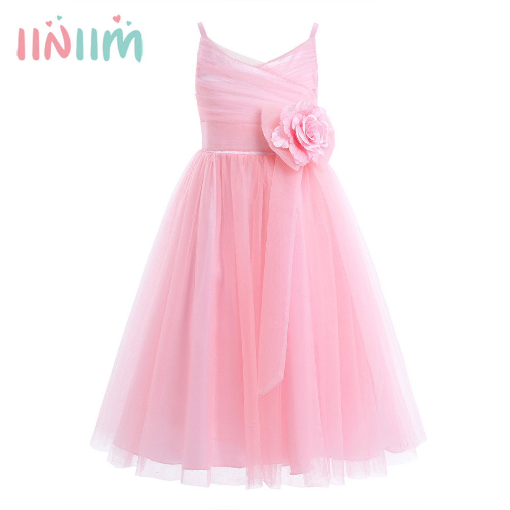 Girls Elegant Dress Tulle Mesh Spaghetti Shoulder Straps Princess Dresses Vestido de festa Pageant Wedding Birthday Party Dress цена и фото