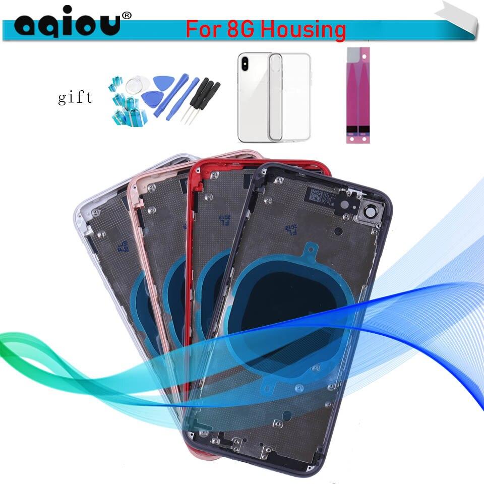 Nuevo Para Iphone 8 De La Cubierta De La Batería Para Iphone 8g 8 Más Ix X + Chasis Medio Marco + Sim Tarjeta Caja De Logotipo Ce De Vidrio