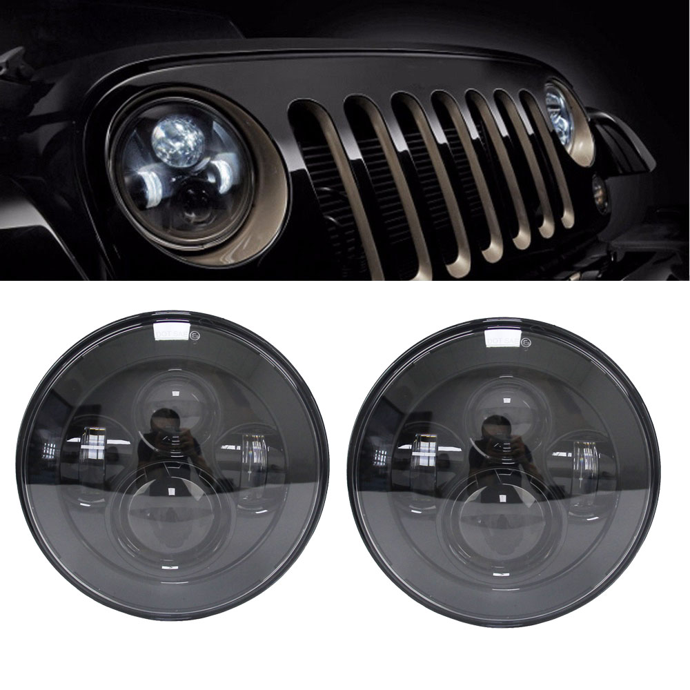 7 inch Round Headlights Led Daymaker For Jeep Wrangler 97-15 Hummer Toyota Defender Motorcycle Headlamp (a pair) vosicky 7 inch round headlights led daymaker with bracket ring for jeep wrangler 97 15 hummer toyota motorcycle headlamp