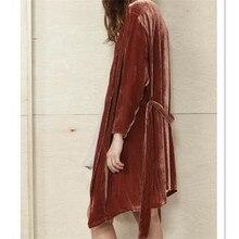 Velvet Cardigan Long Sleeve Bandage Fashion Solid 2017 New Arrivals V-Neck Long Casual Plus Size Cardigans Women Autumn Winter