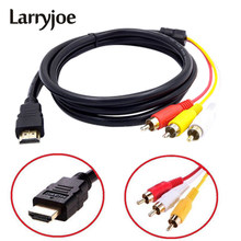 Larryjoe Baru Tiba 5 Kaki 1080P HDTV HDMI Male untuk 3 RCA Audio Video AV Kabel Adaptor(China)
