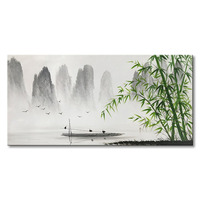 Traditional Chinese painting hand painted bamboo forest oil painting wall painting modern landscape oil painting sitting room