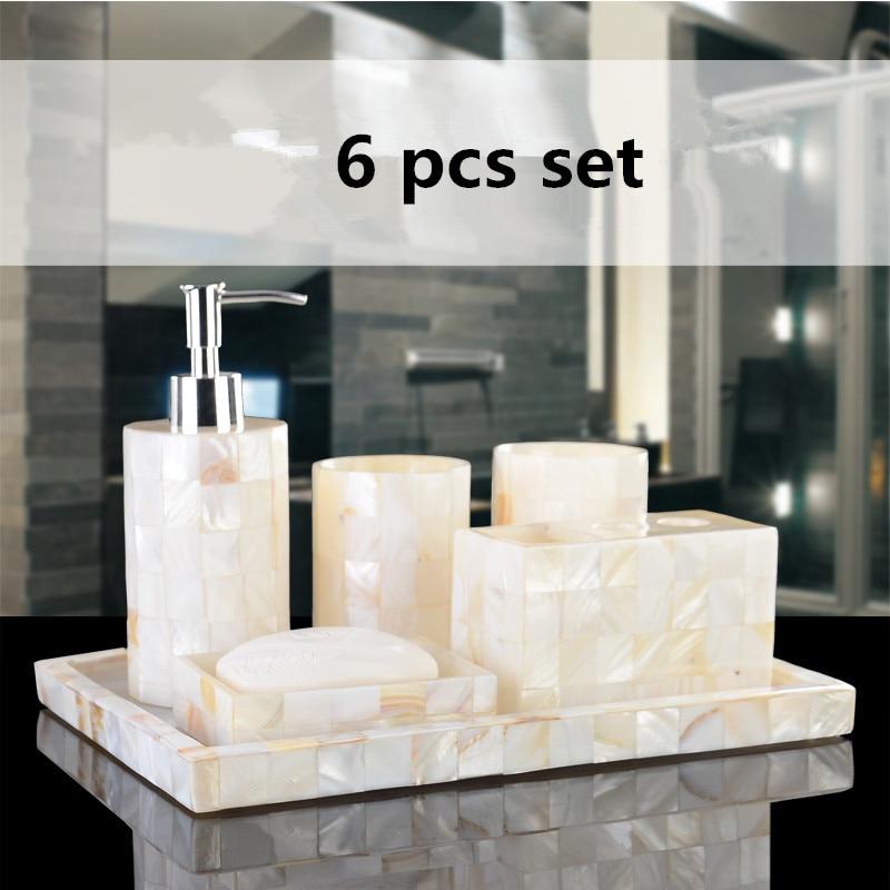 Эко-ручной работы, натуральные оболочки Роскошные шесть шт смолы ванная комната наборы набор для ванной комнаты пять штук набор в подарочной коробке для свадьбы