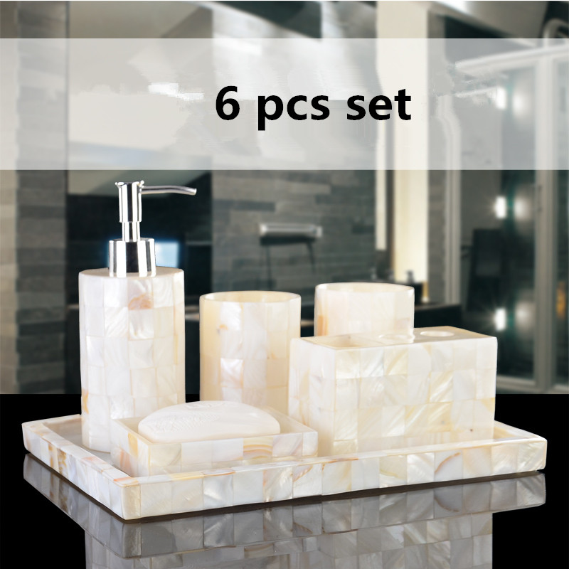Eco friendly handmade natural shell luxury six pcs set resin bathroom sets bathroom set five pieces set in gift box for wedding