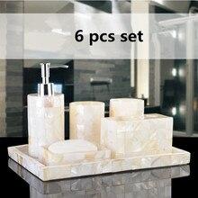 Eco Friendly Handmade Natural Shell Luxury Six Pcs Set Resin Bathroom Sets Bathroom  Set Five Pieces