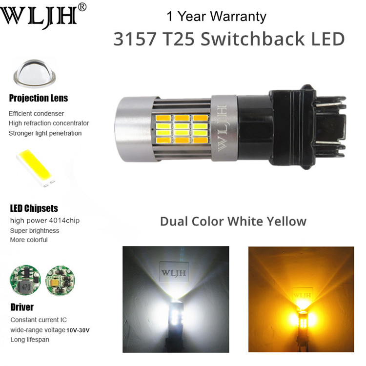 WLJH 2x 3157 3057 LED Auto Car LED Front Turn Signal Parking Lights  Switchback Drl Trunk Brake Bulb lamp White+Amber Dual Color