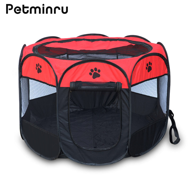 Petminru 114x114x58cm Portable Dog House Pet Tent Cage Puppy Kennel Octagonal Fence Outdoor Foldable Dog Cat Tent Pet Supplies