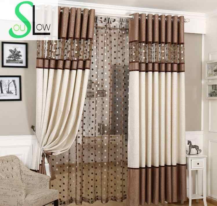 Медленно соул коричневый серый Европейский роскошные шторы Птичье гнездо Сращенные шторы льняной тюль для гостиной кухни спальни Римский отвесный