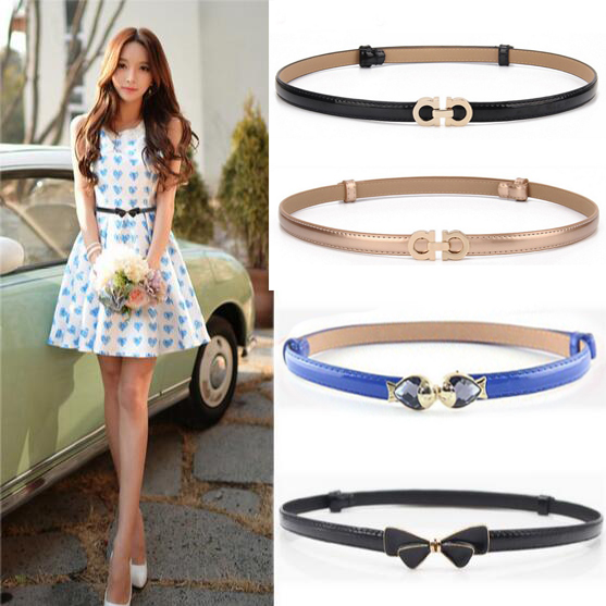 All-match paint leather candy color fashion decoration strap rhinestone buckle thin   belt   female