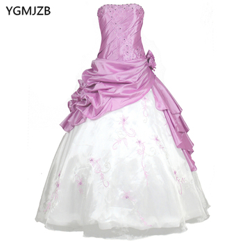 Lilac Long Quinceanera Dresses Ball Gown Strapless Appliques Beaded Lace Organza Vestidos De 15 Prom Dress For Girls