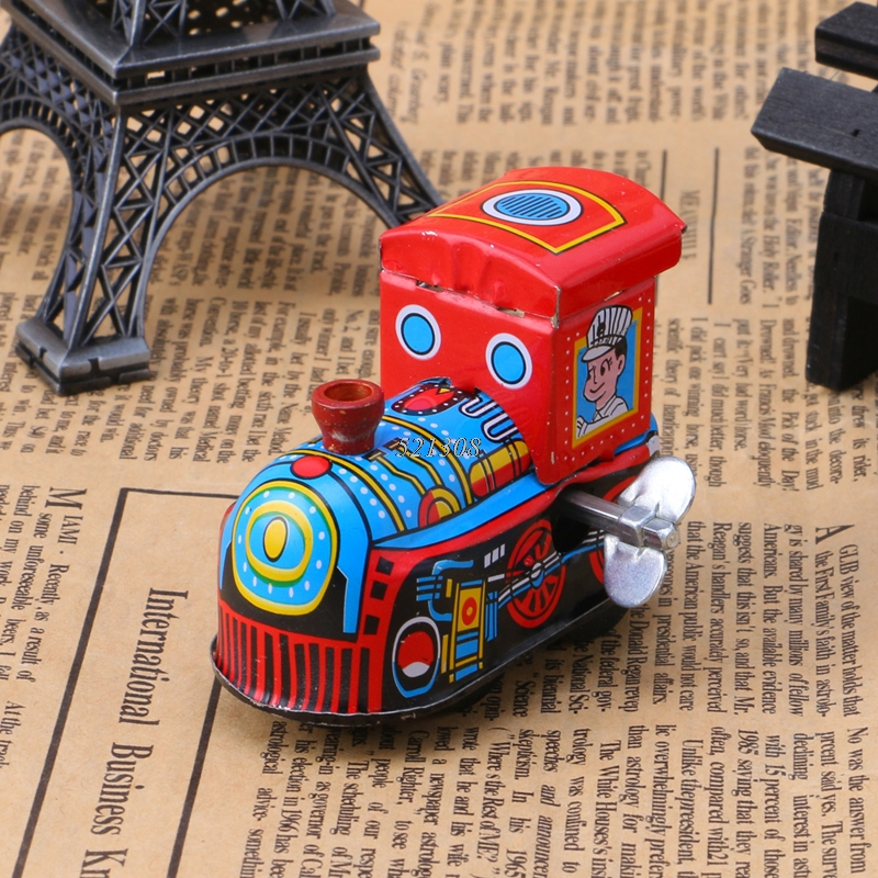 все цены на Retro Steam Train Reminiscence Children Vintage Tin Toy Clockwork Toys Gift